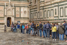 FLORENCE, ITALY - OCTOBER 29, 2018: A long line of people waiting to enter the Campanile of the Duomo in Florence.