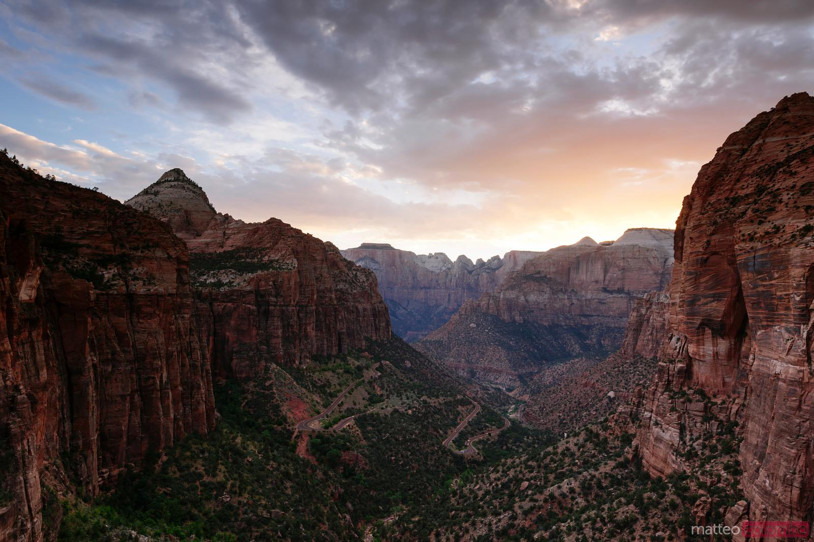 Sunset over valley, Zion Canyon National Park, Utah, USA