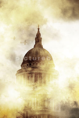 St Paul's Cathedral, London, in world war two, with two Spitfires flying over.