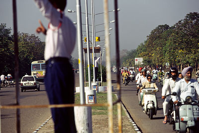 India - Chandigarh - Traffic on the planned, wide avenues of Chandigarh