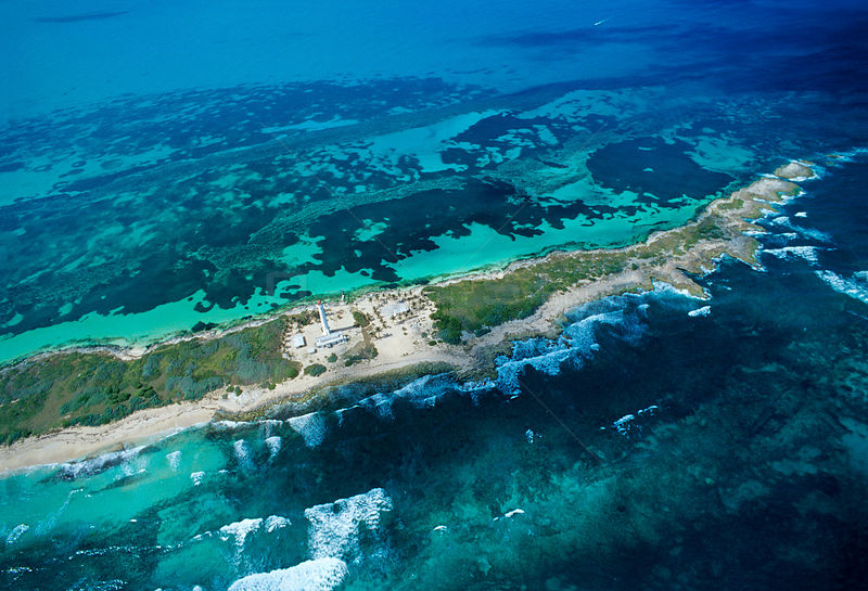 Aerial view of northern part of Contoy Island, Contoy Island National Park, Mesoamerican Reef System, near Cancun, Caribbean ...