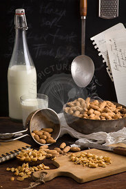Dried peanuts on table. Recipe with milk and peanuts