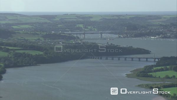 Aerial view looking over the River Tamar towards the Royal Albert Bridge, Devon, England, UK, October 2015.