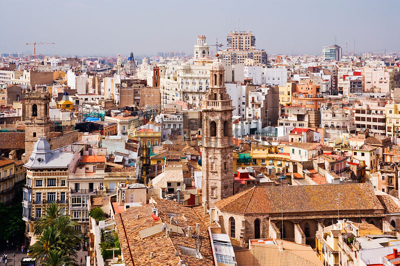 Elevated Cityscape of Valencia Spain