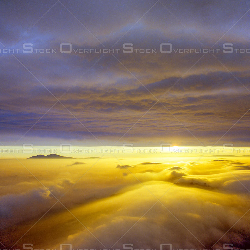 Mount Diablo California Sunrise Between Two Layers of Clouds