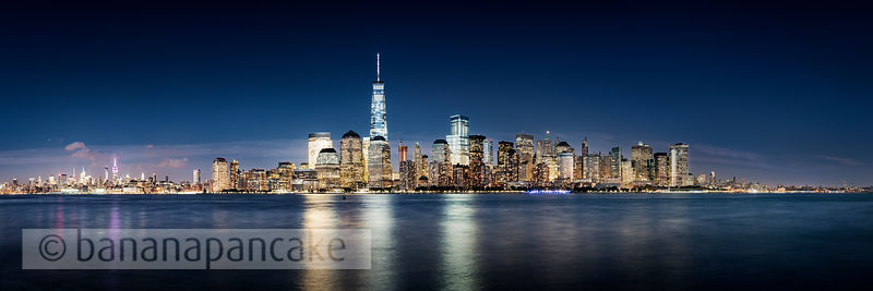 The Lower Manhattan skyline at night, from New Jersey, New York - BP4494
