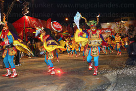 The Urus Diablada dance group performing at night, Oruro Carnival, Bolivia