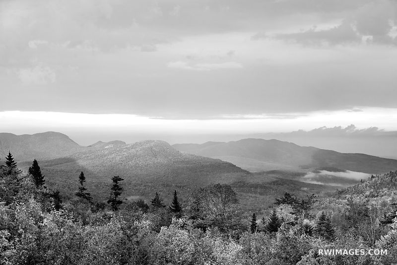 SUNSET WHITE MOUNTAINS KANCAMAGUS HIGHWAY NEW HAMPSHIRE FALL COLORS LANDSCAPE BLACK AND WHITE