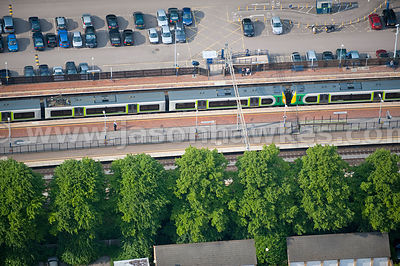 Aerial view of train station platform