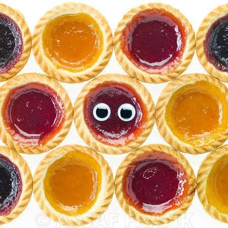 Jam tarts on white background