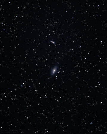 Supernova SN 2014J and galaxies M81 and M82 on January 23 2014.