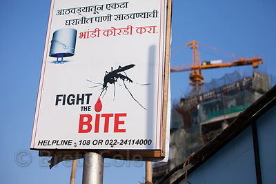 A sign encouraging malaria awareness near Matunga, Mumbai, India.