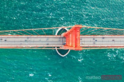 Overhead aerial of Golden gate bridge, San Francisco, USA