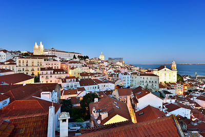 The Monastery of Sao Vicente de Fora and Alfama district at twilight. Lisbon, Portugal