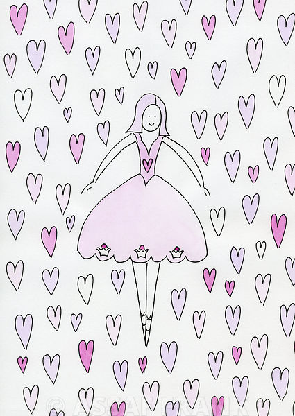 Ballerina surrounded by hearts