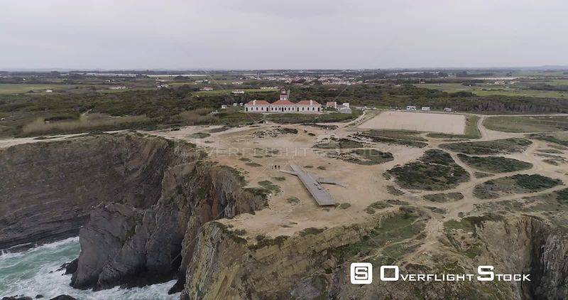 Aerial drone of rocky cliffs off the coast of Portugal