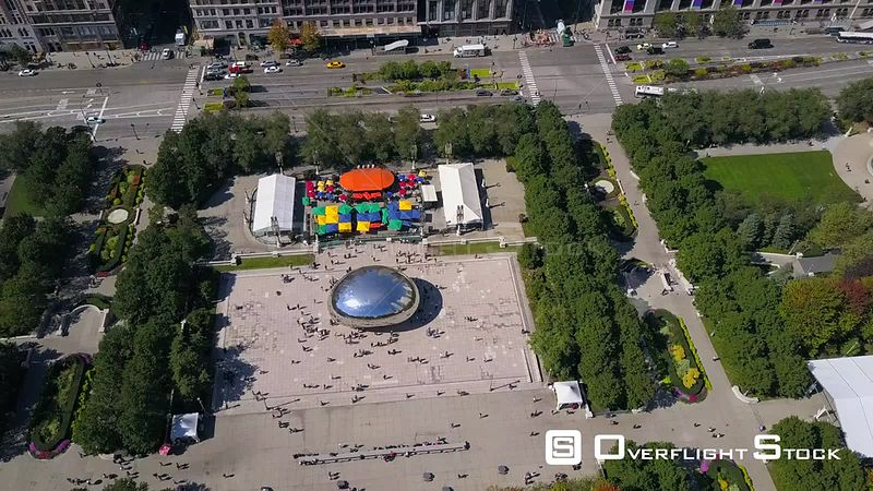 Cloud Gate and Millennium Park Drone Video Downtown Chicago Illinois USA