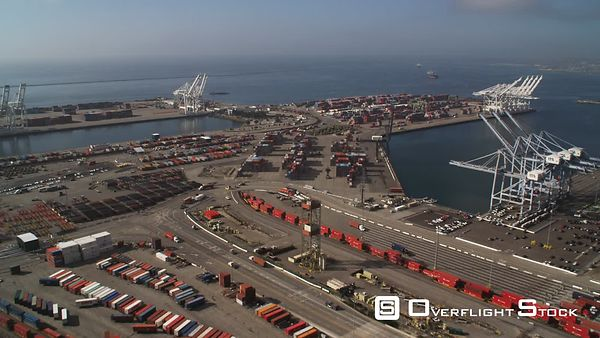 Over Container Terminal and Loading Cranes in Los Angeles Harbor.