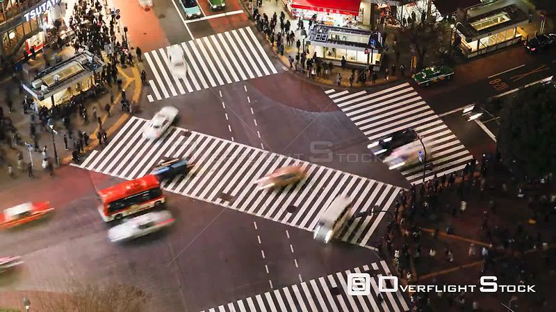 Timelapse of crowds of people crossing the centre of Shibuya shopping and entertainment district, Tokyo, Japan, 2011.