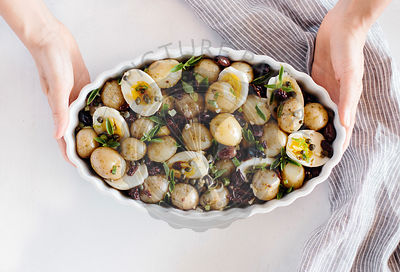 Baby Potatoes with Sun-Dried Tomatoes and Caper Dressing