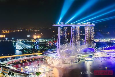 Light show at Marina bay Sands at night, Singapore