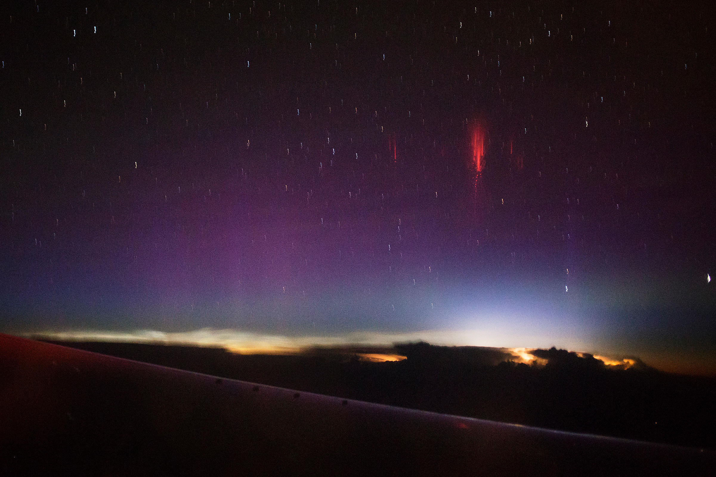 Sprite lightning photographed from a plane above USA in June 2014.