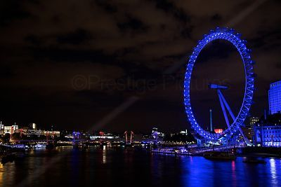 Coloured Lights on The River Thames at Night