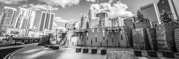 Charlotte Panorama Black and White Photo