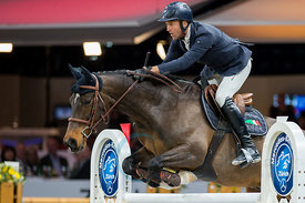 Zurich, Switzerland, 26.1.2018, Sport, Reitsport, Mercedes-Benz CSI Zurich - Longines Grand Prix. Bild zeigt Luca Maria MONETA (ITA) riding CONNERY...26/01/18, Zurich, Switzerland, Sport, Equestrian sport Mercedes-Benz CSI Zurich - Longines Grand Prix. Image shows Luca Maria MONETA (ITA) riding CONNERY.