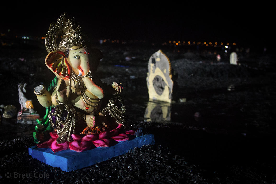 Ganesh idols on Chowpatty Beach in Mumbai, India, during the Ganesh Chaturthi festival.
