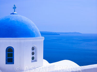 Greece, Santorini Island. View of church