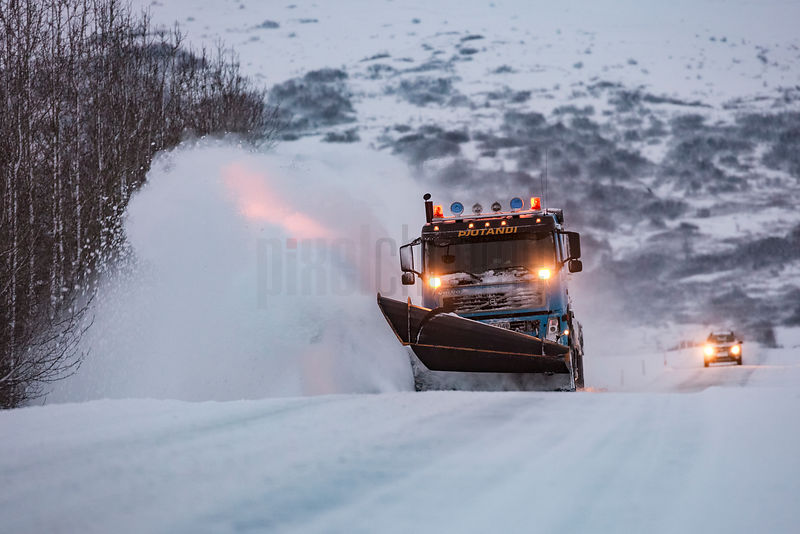 Snow Plough on Road to Geysir
