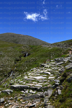 Section of Pre-Hispanic Inca Trail below Abra Calderillas pass, Cordillera de Sama Biological Reserve, Bolivia
