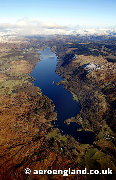 aerial photograph of Coniston Water in the Lake District  Cumbria England  UK