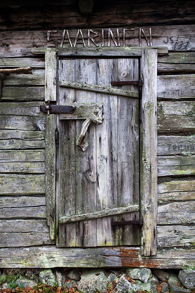 Door of old log cabin
