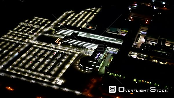 Night aerial video factory premises of GLOBALFOUNDRIES Management Services Limited Liability Company & Co. KG located in Dres...