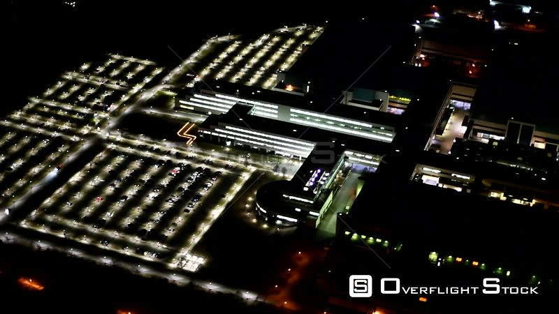 Night aerial video factory premises of GLOBALFOUNDRIES Management Services Limited Liability Company & Co. KG located in Dresden, Saxony, Germany