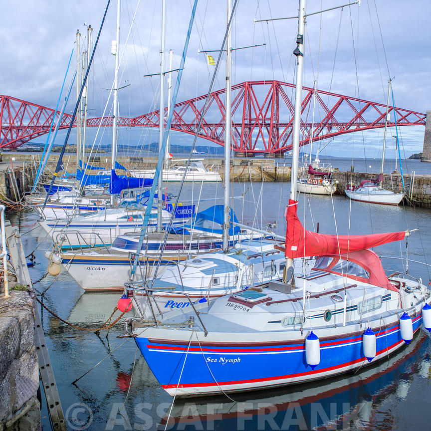 Yachts moored on South Queensferry quayside, Scotland