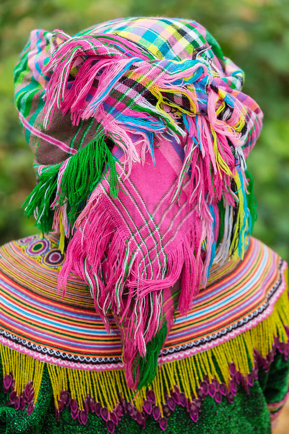 Closeup of Flower Hmong Head Dress