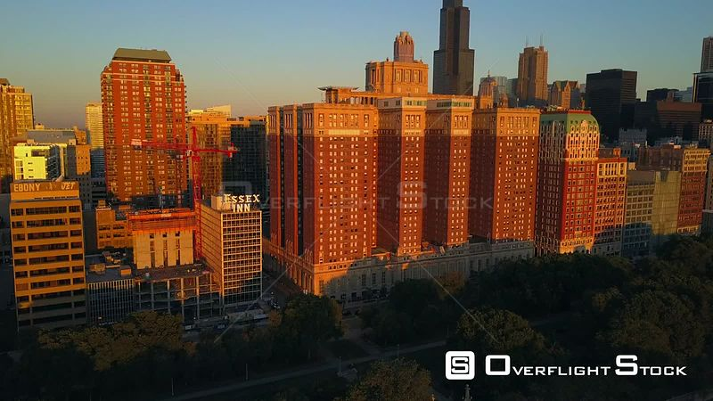 Drone Video Downtown Chicago Illinois From Grant Park USA