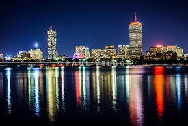 Boston Skyline at Night with Harvard Bridge
