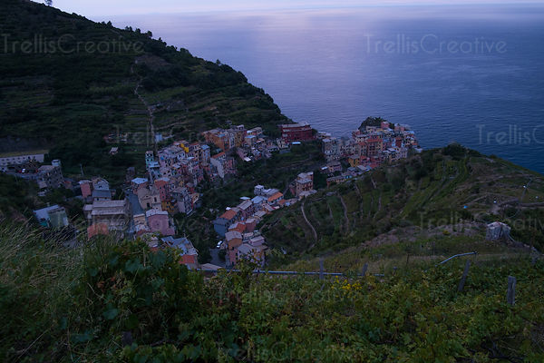 The town of Riomaggiore in Cinque Terre just after sunset