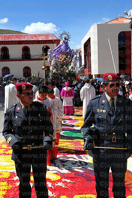 Soldiers lead the main procession of the Virgen de la Candelaria, Plaza de Armas, Puno, Peru