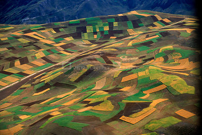 Aerial view - patchwork of arable fields, near Machu Picchu, Peru, South America 2000