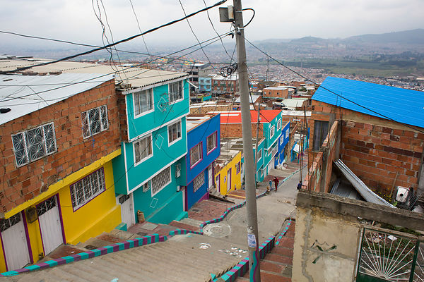 Stairs of the Ciudad de Bolivar district in Bogota, Colombia