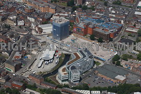 Rochdale aerial photograph of the new Transport Bus and Tram interchange part of the Number One Riverside development area