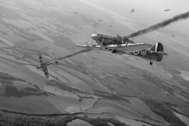 Battle of Britain dogfight B&W