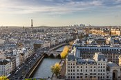 Aerial view of Paris city with Eiffel tower and river Seine, France