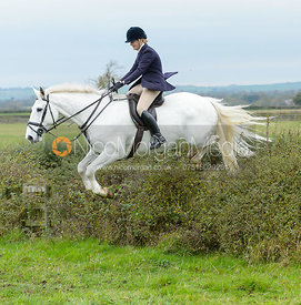 Anneka Fisher jumping a hedge at Sheepwash