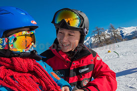 Ski Instructor Jinyu Liu with Families from China first time on ski in St.Moritz